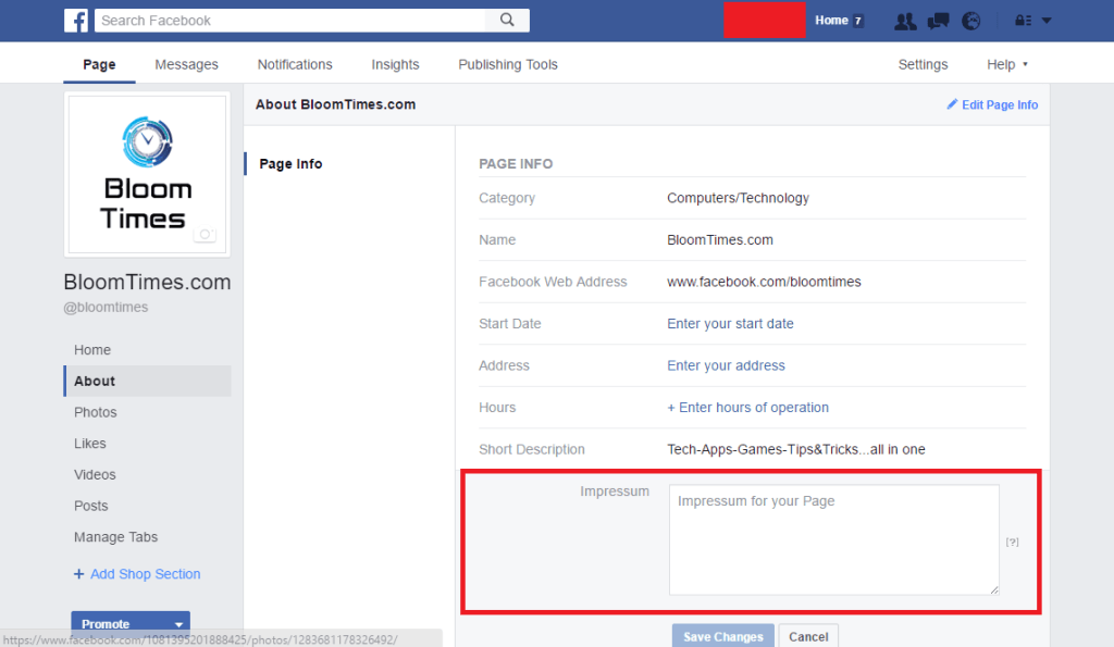 , FaceBook Impressum – How To's and Impressum Example